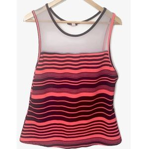 At Leisure Blushed Brand Striped Sleeveless Top.